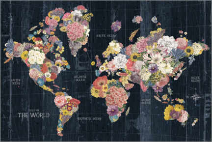 Premium poster World map made of flowers
