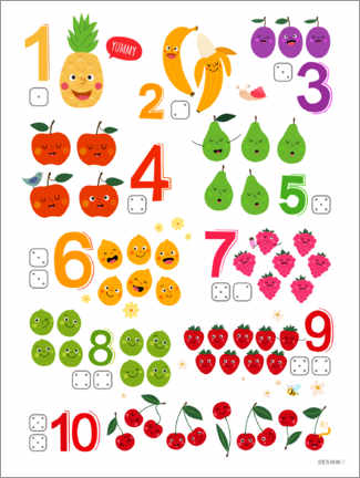 Premium poster  Learning numbers with cheeky fruits - Heyduda