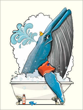 Premium poster Blue whale in the shower