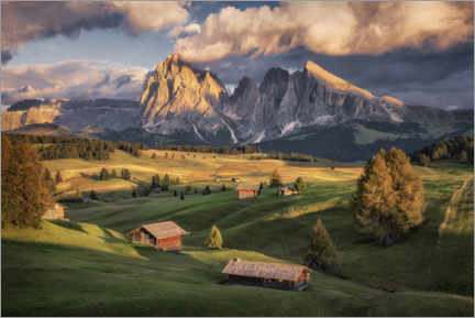 Wood print  Evening light on the Alm - André Wandrei