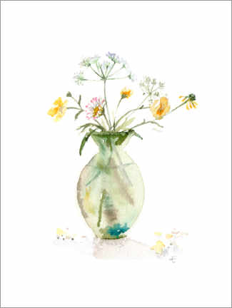Canvas print  Buttercups in a green vase - Verbrugge Watercolor