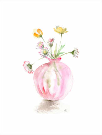 Wall sticker  Buttercups in a delicate pink glass vase - Verbrugge Watercolor