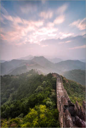 Premium poster Sunrise over the Great Wall of China
