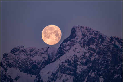 Wood print  Full moon over the mountains - Fotomagie