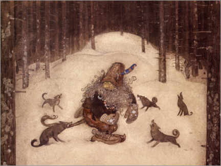 Wood print  Troll and wolves - John Bauer