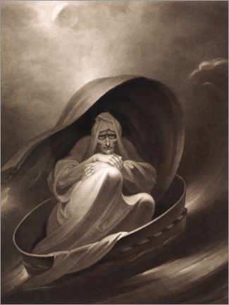 Wood print  A witch sailing to Aleppo in a sieve, December 1st - Charles Turner
