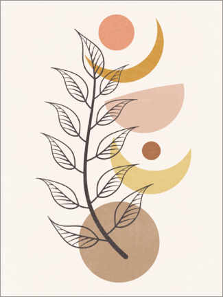Canvas print  Moon phases and branch in boho style - TAlex
