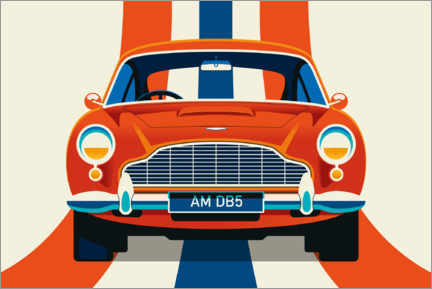 Premium poster Red vintage sports car front with stripes