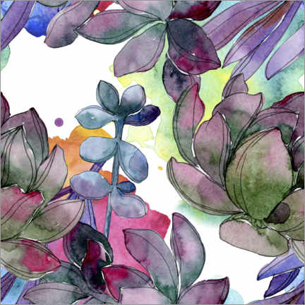 Canvas print  Leaves in watercolor