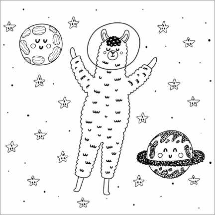 Colouring poster  Alpaca in space - Kidz Collection