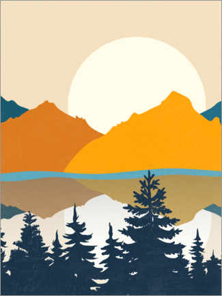 Premium poster Mountain Landscape with Lake