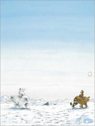 Premium poster  The little polar bear Lars and the little tiger