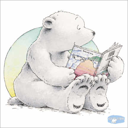 Premium poster  The little polar bear Lars is reading a book