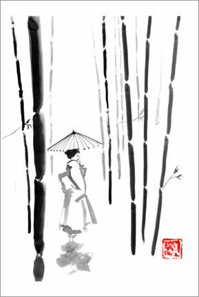 Premium poster Geisha in bamboo forest