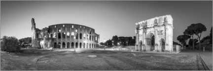Premium poster Colosseum and Arch of Constantine black and white