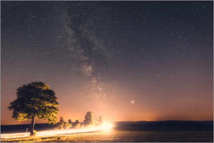 Wood print  Milky way with starry sky in the Harz Mountains - Oliver Henze