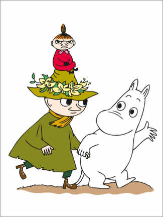 Premium poster Little My with Moomin and Snufkin