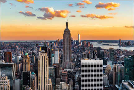 Premium poster Empire State Building and at sunset, New York