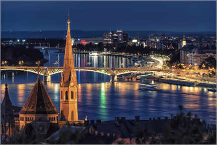 Premium poster  Budapest by night - Manjik Pictures