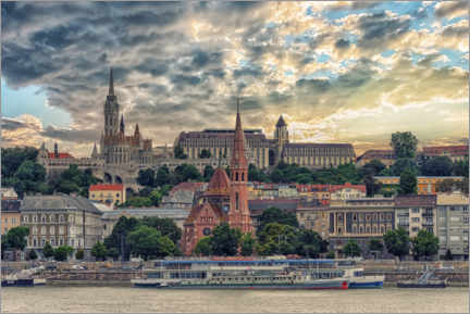 Premium poster  Budapest in the evening - Manjik Pictures