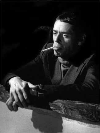 Acrylic print  Jacques Brel with cigarette, Nice 1974