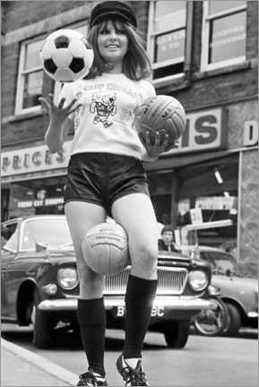 Canvas print  Anne Worrall in Soccer World Cup gear, England 1966
