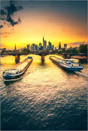 Canvas print  Frankfurt in the sunset, skyline with two ships - Jan Wehnert