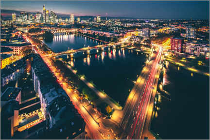 Canvas print  Frankfurt at night and from above - Jan Wehnert