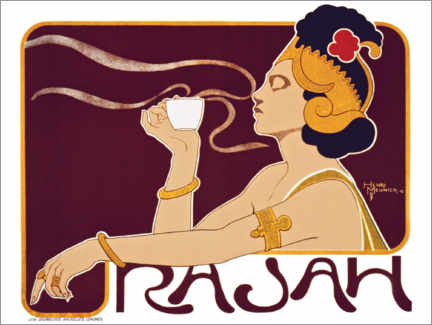 Wood print  Advertising poster for Rajah Coffee with a Javanese woman, 1897
