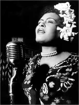 Wood print  Jazz and blues singer Billie Holiday in the 1940s