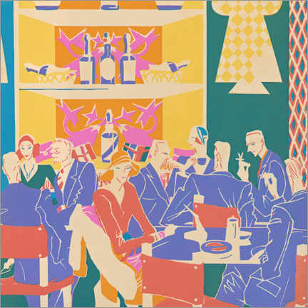 Wood print  Patrons at Tables in an Art Deco Jazz Club, 1931