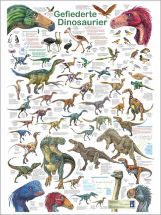 Canvas print  Feathered dinosaurs - Planet Poster Editions