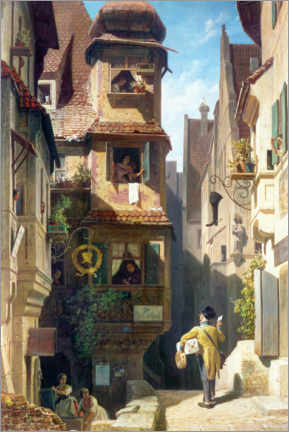 Acrylic print  The Postman in the Rose Valley - Carl Spitzweg