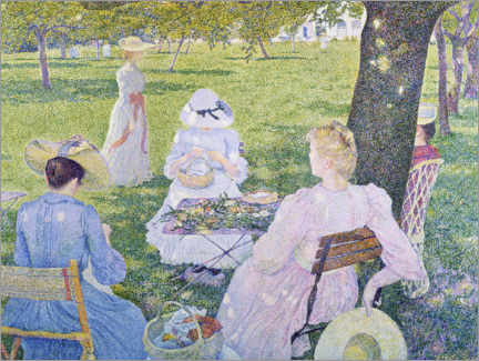 Acrylic print  Family in the orchard - Theo van Rysselberghe