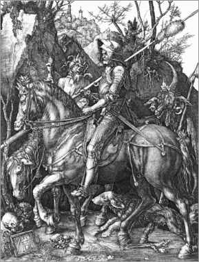 Wood print  Knight, Death and the Devil - Albrecht Dürer