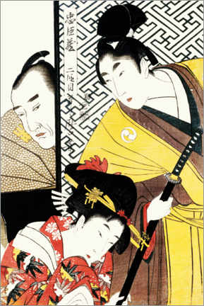 Canvas print  The young samurai Rikiya with Konami and Honzo behind the door - Kitagawa Utamaro