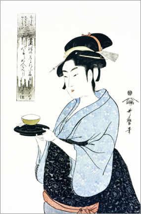 Premium poster Naniwaya Okita serves a teacup in the famous tea house
