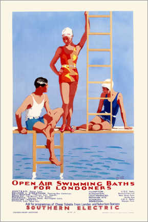 Wood print  Open Air Swimming Baths for Londoners - English School
