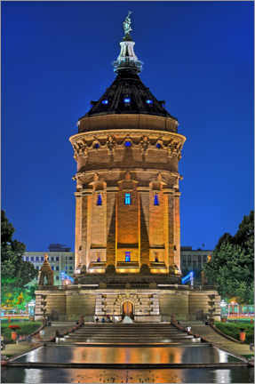 Premium poster  Lighted Water Tower in Mannheim - FineArt Panorama