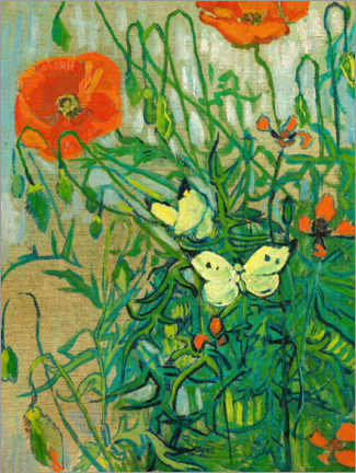 Wall sticker  Butterflies and poppies - Vincent van Gogh
