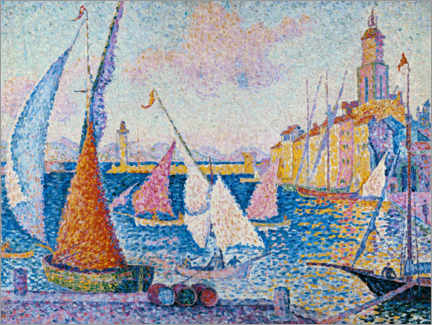 Premium poster  Sailing boats in the harbour of Saint Tropez - Paul Signac