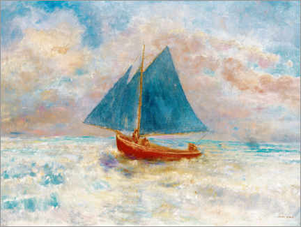 Foam board print  Red boat with blue sails - Odilon Redon