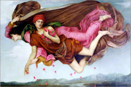 Wood print  Night and sleep - Evelyn De Morgan
