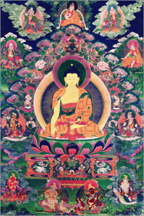Wood print  Buddha Shakyamuni with eleven figures - Tibetan School