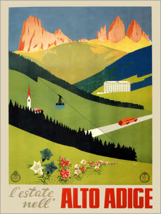 Premium poster  Alto Adige vintage newspaper, South Tyrol, Italy - Travel Collection