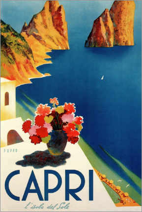 Wood print  Italy - Summer Island of Capri - Travel Collection