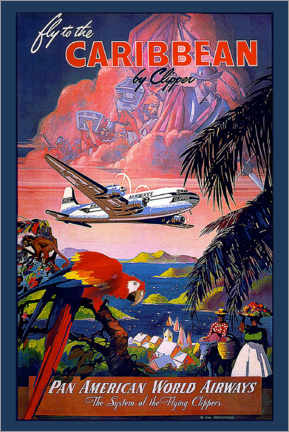 Premium poster Fly to Caribbean by Clipper