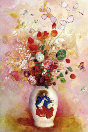 Gallery print  Bouquet of flowers in a Japanese vase - Odilon Redon