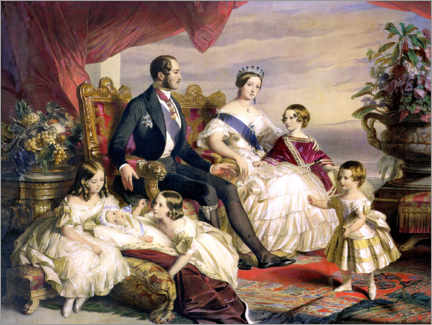 Wood print  Queen Victoria and Prince Albert with Five of the Their Children - Franz Xaver Winterhalter