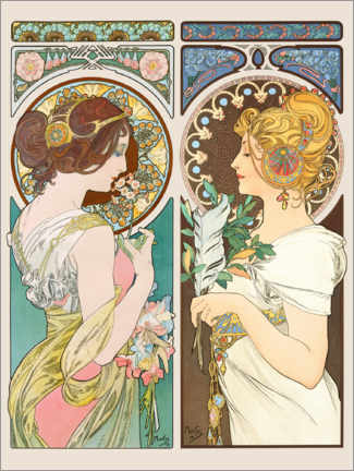 Foam board print  Primrose & Feather - Alfons Mucha